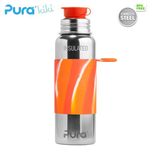 Pura Sport Edelstahl isolierte Sportflasche mit Silikon Sleeve Swirl und Big Mou