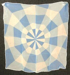 Vintage Vera Sheer Neumann Scarf Silk Blend ART Geometric Masterpiece Blue JAPAN