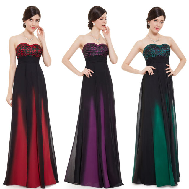 Elegant Red Womens Long Evening Party Formal Gown Bridesmaid Dress *UK SELLER*