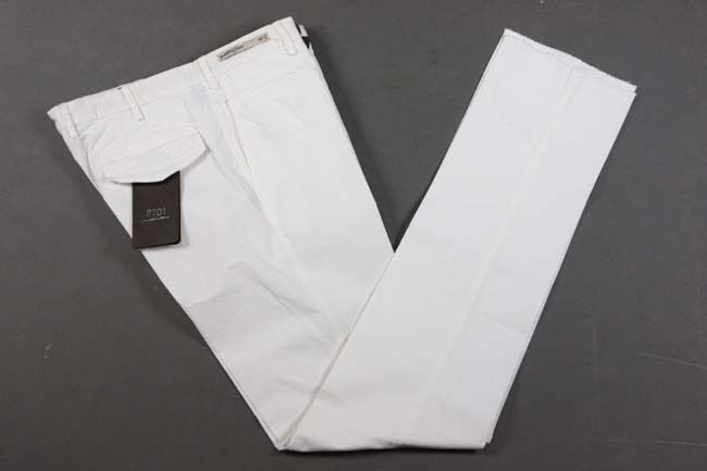 PT01 Trousers  38 Soft white, flat front, washed cotton elastane