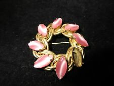 Kafin New York Signed 1940-1960 Vintage Pin Brooch Pink Gold Antique Estate