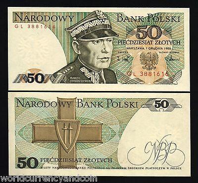 POLAND 1988 50 ZLOTYCH SWIERCZEWSKI UNC LOT OF 2 NOTES P-142 FROM A USA SELLER !