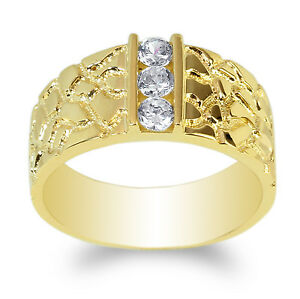 JamesJenny Mens 10K Yellow Gold CZ Embedded Unique Band Ring Size 7-12
