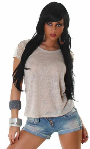 T-Shirt mit Spitze Reißverschluss Top Sommer Einheitsgröße 34 36 38 hellbraun