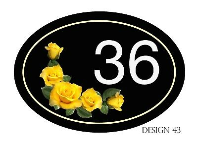 OVAL House,door,caravan Horizontal Floral Plaque//sign//plate Your number// name