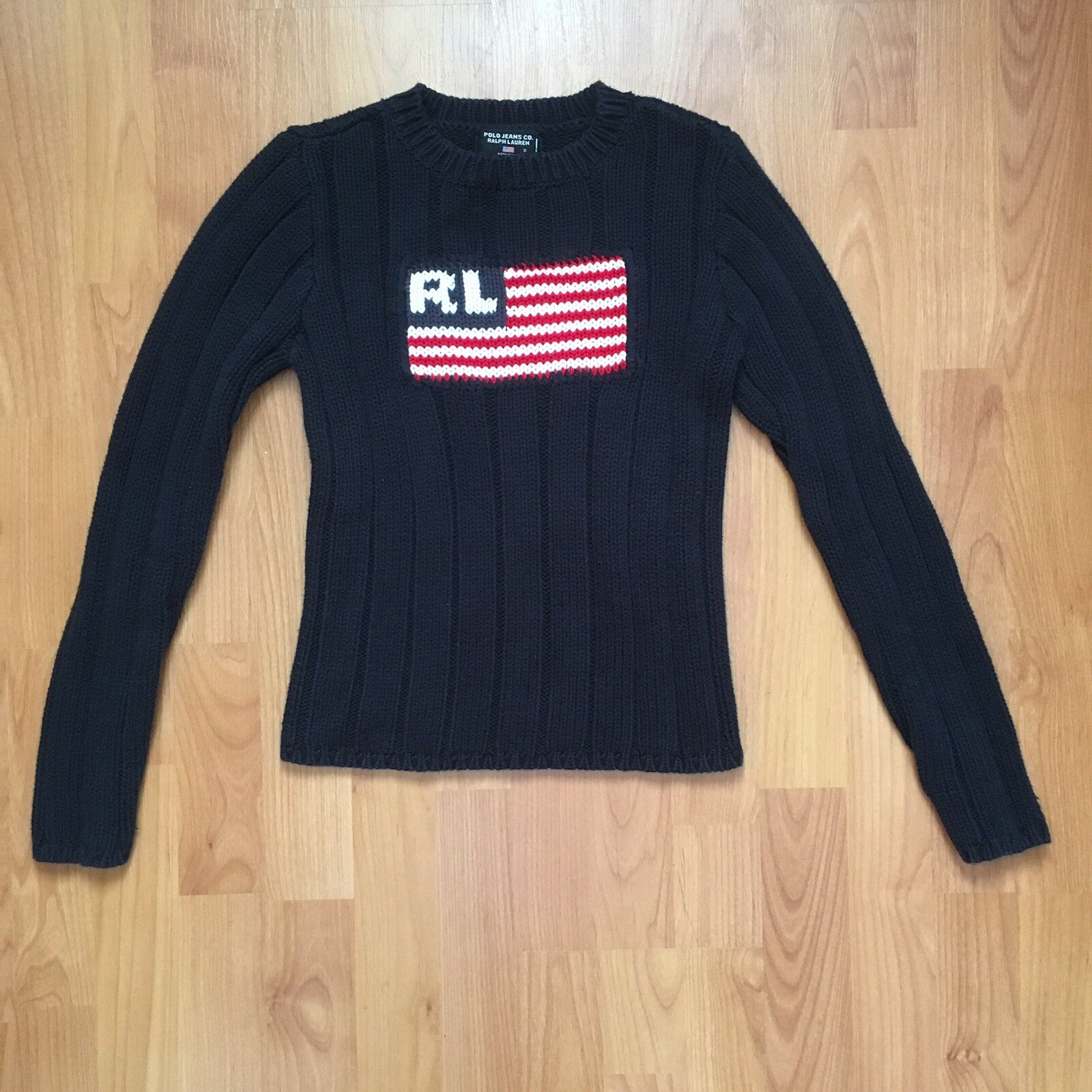 Vintage Polo Jeans Co. Women's Ralph Lauren Big USA Flag Knit Sweater Small