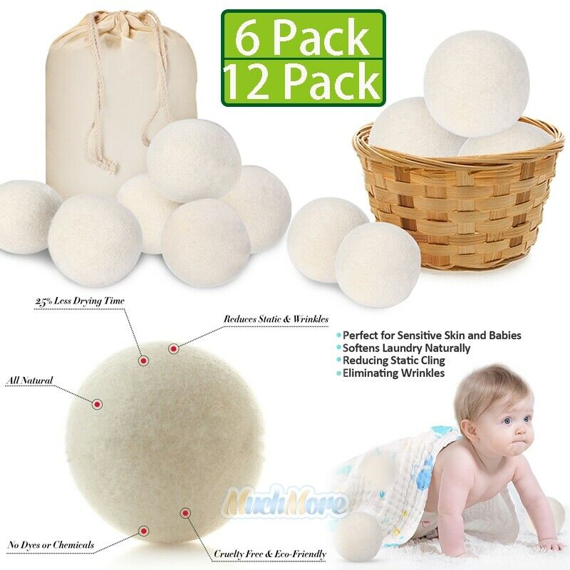 6/12 Wool Dryer Balls Organic New Zealand Wool Natural Laund
