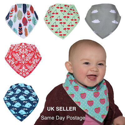 3 Pack Blue Dribble Bibs Baby Premium Cotton Bibs British Made for Boys or Girls