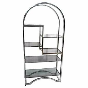 MILO BAUGHMAN Chrome Arched Top Etagere Smoked Glass ...