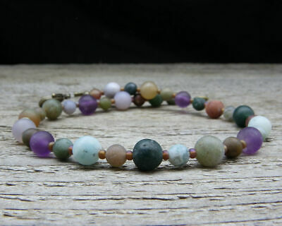 Tumbled Stone Beach Necklace in Natural Jasper /& Amethyst Plus Size Small