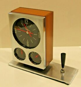 Details about Vintage Taylor Danish Chrome Desk Clock Thermometer Barometer  Mid-Century Modern