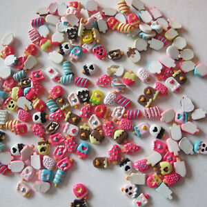3D-Nail-Art-Bows-Ice-Creams-Chocolate-Cupcakes-Candy-Lollipops-MM-039-s-50-PIECES