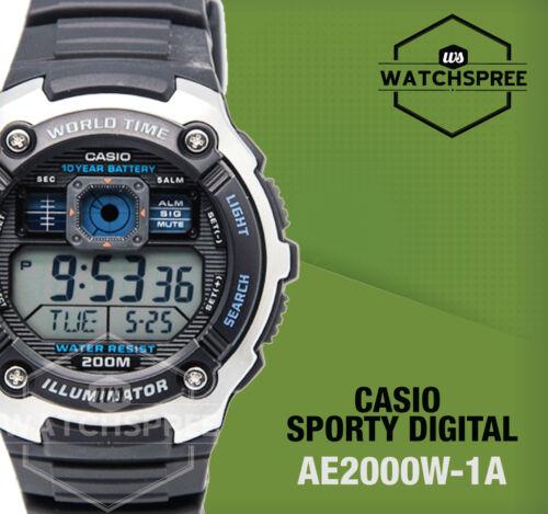 1 of 1 - Casio Standard Digital Sporty Design Watch AE2000W-1A