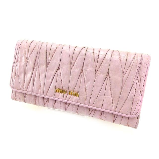 miumiu Wallet Purse Long Wallet Purple Woman Authentic Used Y2347