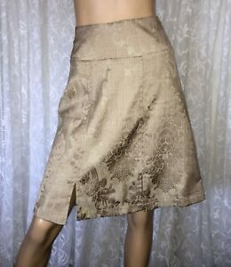 DIANA-FERRARI-SIZE-8-FLORAL-GOLD-A-LINE-SKIRT-AS-NEW