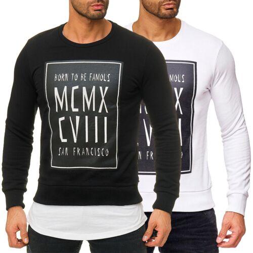 RedBridge Herren Pullover Longsleeve Sweatshirt Print Freizeit Disco Streetwear