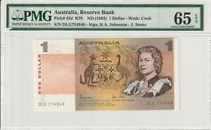 Australia 1983 1 Dollar PMG Certified Banknote UNC 65 EPQ Gem Pick 42d Queen