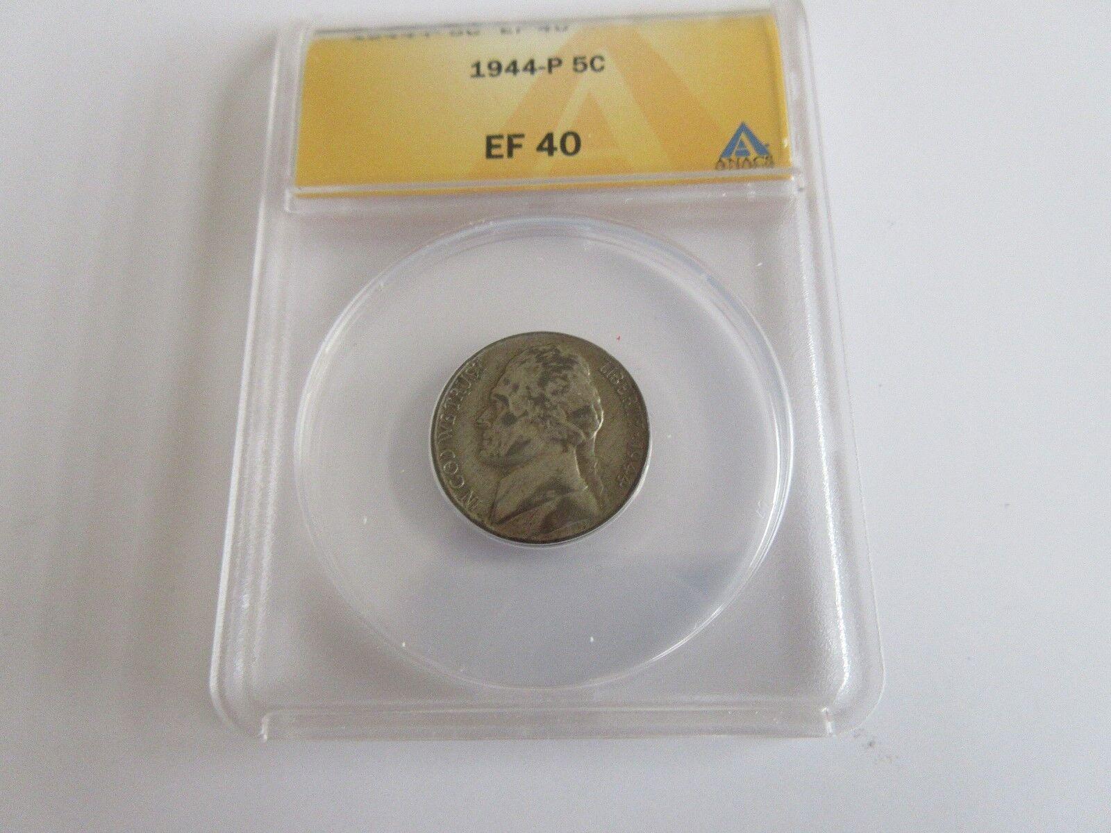 1944-P , Jefferson Nickel , ANACS , EF 40