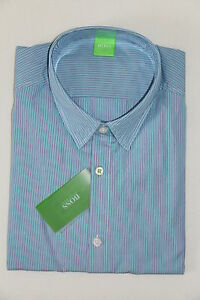 HUGO-BOSS-GREEN-HEMD-Mod-Bissvil-Gr-M-Medium-Blue