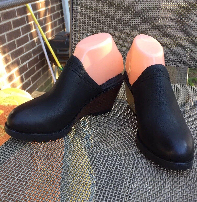 New SOREL schwarz leather sz.7M damen Mules Slip On clogs