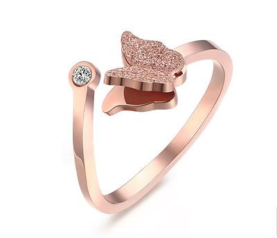 Open ring Korean style Stainless Steel BUTTERFLY W/rhinestone Lovely Womens ring