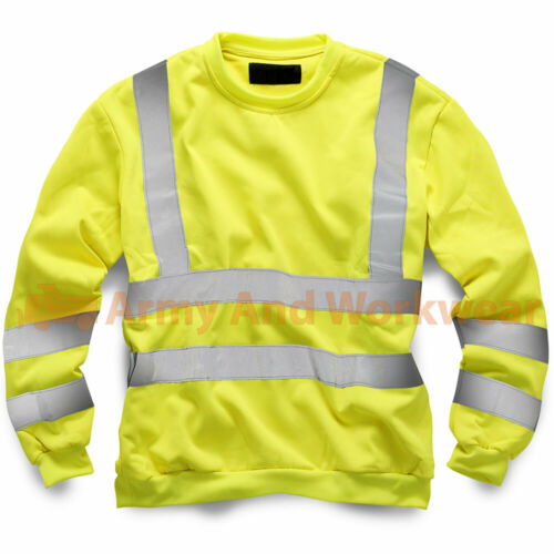 Hi Viz Crew Safety Sweatshirt Mens Visability Workwear Security Fleece Jumper