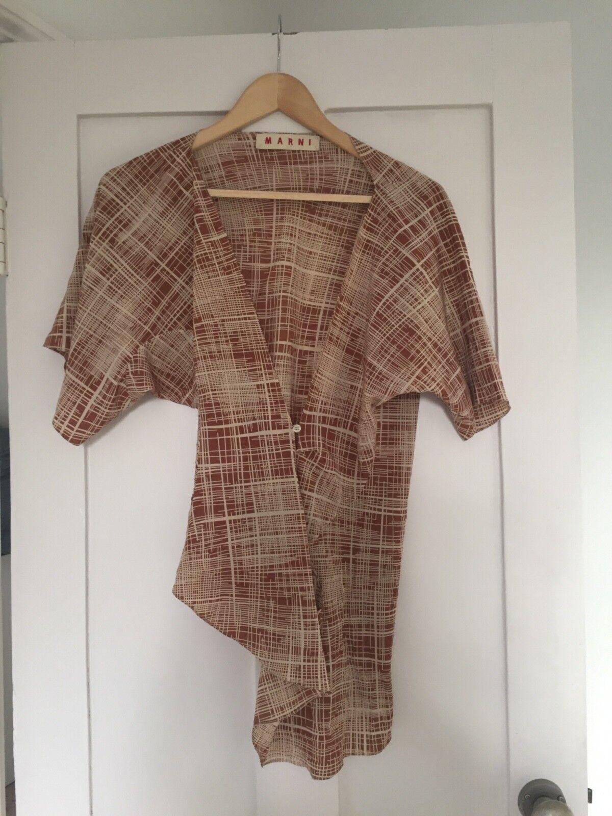 MARNI MARNI MARNI 100% SETA  Kimono  stile Wrap Top Taglia 40 65e32a