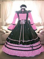 Amazing Long Pink Pvc Adult Sissy Maids Dress With Black Apron Size Xxl