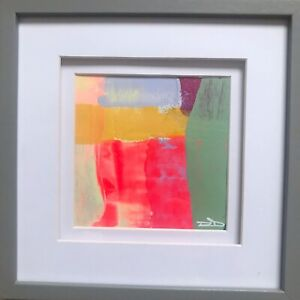 Original Abstract Signed Painting Fluorescent Art Painting Small Grey Frame 6x6