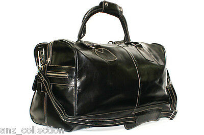 Black Weekend Holdall Duffel Sports Travel Gym Adjustable Strap Hide Leather Bag