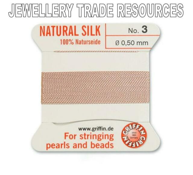 WHITE SILK STRING THREAD 0.50mm FOR STRINGING PEARLS /& BEADS GRIFFIN SIZE 3