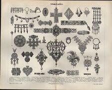 Lithografie 1897: Schmucksachen. Kunst Schmuck Juwelier Design Edel-Steine
