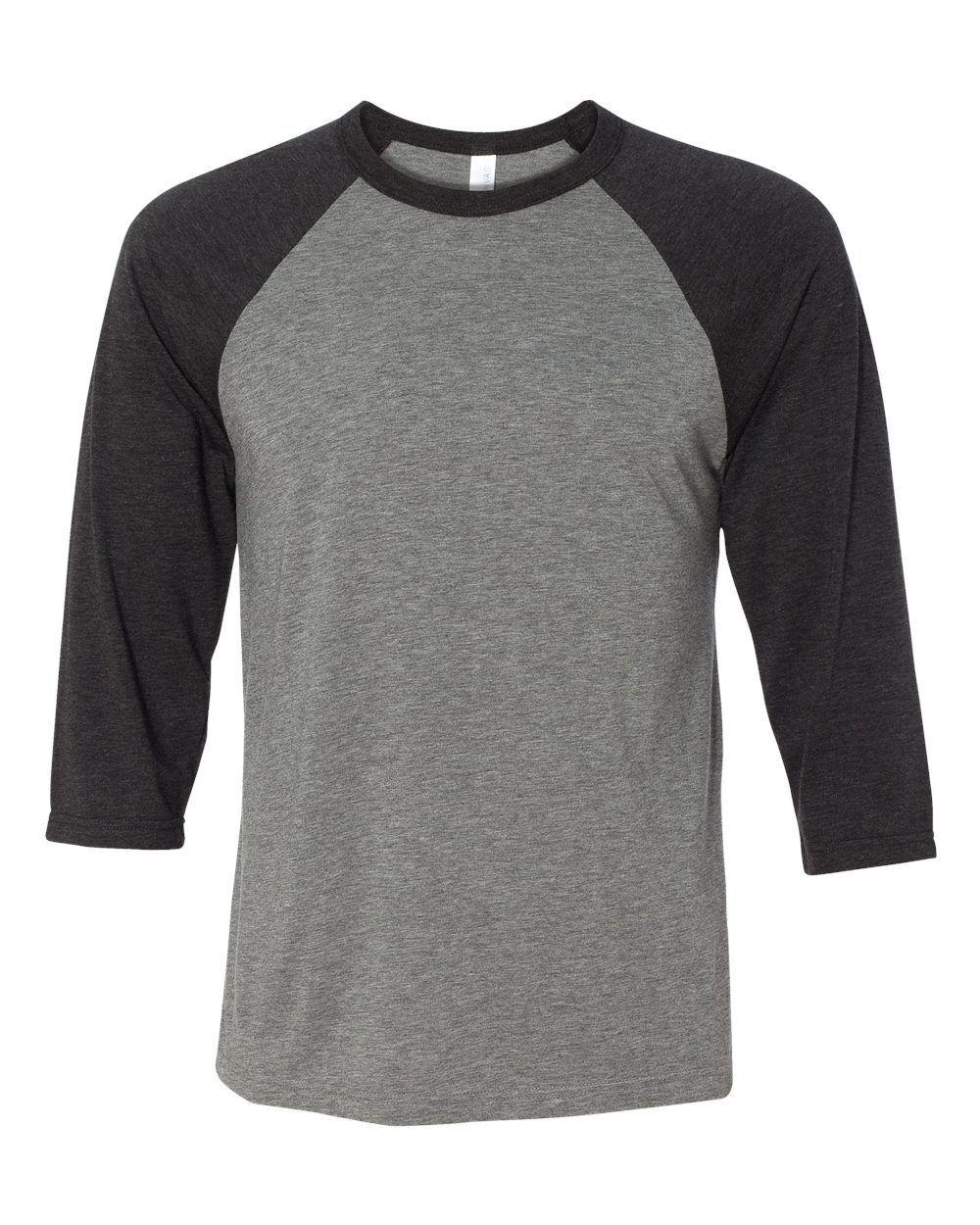 Canvas mens 3 4 sleeve baseball jersey t shirt raglan tee for Baseball jersey t shirt custom