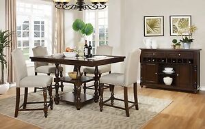 Pc Counter Height Dining Set Walnut Color Dining Table W Chairs - Walnut color dining table