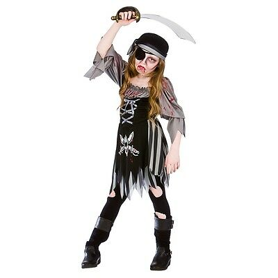 Child ZOMBIE GHOST PIRATE Halloween Girls Fancy Dress Kids Costume Age 5-13