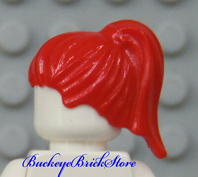 Minifigure Short Wig w//Girl Ponytail NEW Lego Female Minifig Bright RED HAIR