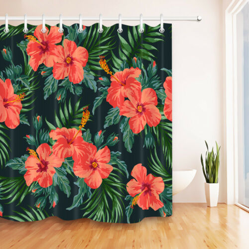 Exotic Pattern with Tropical Leaves /& Flowers Shower Curtain Hooks Bathroom Mat
