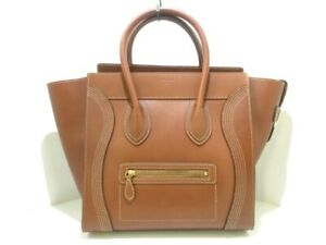 Auth-CELINE-Luggage-Mini-Shopper-181453AUS-19TO-Brown-Leather-Tote-Bag