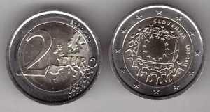 SLOVENIA-NEW-ISSUE-BIMETAL-2-EURO-UNC-COIN-2015-YEAR-30th-ANNI-EU-FLAG