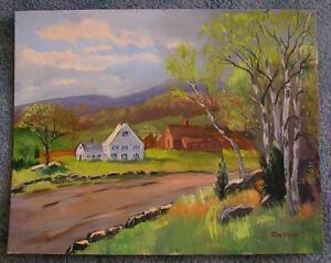 AMERICANA FOLK ART WHITE HOUSE BLACKSTONE VALLEY NATIVE AMERICAN SITE PAINTING