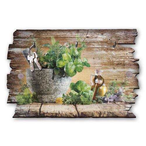 Herbes Clé Planche Crochets Barre Maison De Campagne Shabby Chic en Bois 30x20cm