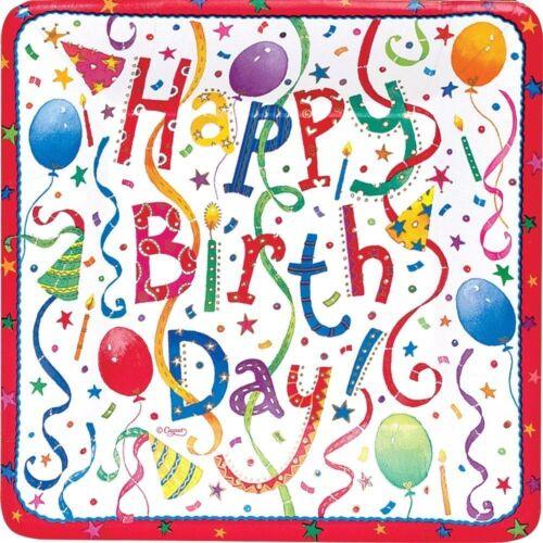"""CASPARI 8 PACK HAPPY BIRTHDAY SALAD DESSERT 7/"""" SQUARE PAPER PLATES FUN DESIGN"""