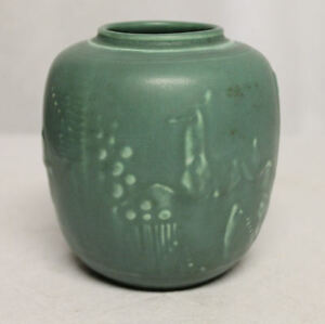 Antique-Green-Rookwood-Vase-with-Stag-Deer-Arts-amp-Crafts-Style