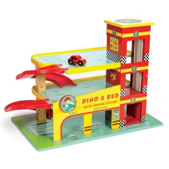 Dino`s rote Parkgarage Holz Parkhaus mit 3 Etagen + 1 Auto Zapfsäule Carservice