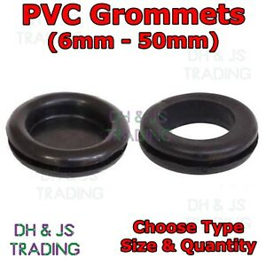 6 9 12 16 20 25 32 38 & 50mm Black Rubber Blanking Closed Wiring Open Grommets