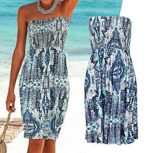 Schones Marken Bandeau Kleid Gr 36 38 Sommerkleid Blau Weiss Ethno Print Luftig Ebay