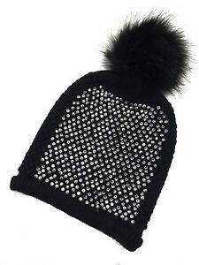 Womens Bobble Hats Fur Pom Pom Diamante Designer Inspired Beanie Hat ... 4739d1819e7