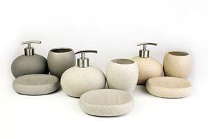 3 Piece Stone Ceramic Bathroom Set Soap Dish Tumbler & Dispenser Grey White Sand