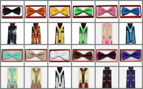 Solid Suspender Bow Tie Combo Matching Color Sets for Boys Girls Kids Child