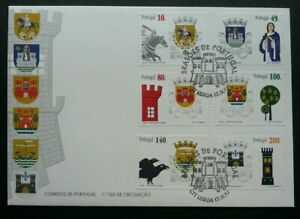 SJ-Portugal-Coats-Of-Arms-Of-The-Districts-Of-Portugal-1997-stamp-FDC